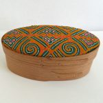 Keith Sharrock - oval box with antique fabric lid